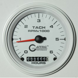 4758 3 3/8 ELECTRIC TACH/HOUR METER 0-6000 RPM WHITE