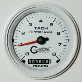 4760 3 3/8 ELECTRIC TACH/HOUR METER 0-8000 RPM WHITE