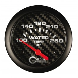 12006 2 5/8 ELECTRIC WATER TEMP 100-250 F CARBON FIBER - W/SENDER & BUSHING KIT