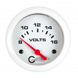 13005 2 5/8 ELECTRIC VOLTMETER 8-16V White