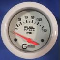 13007 2 5/8 ELECTRIC FUEL PRESSURE 0-15 PSI - INCLUDES SENDER White