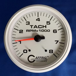 10019 4 5/8 ELECTRIC TACHOMETER 0-8000 RPM WHITE