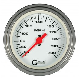 4514 3 3/8 MECHANICAL DRY SPEEDOMETER 200 MPH WHITE